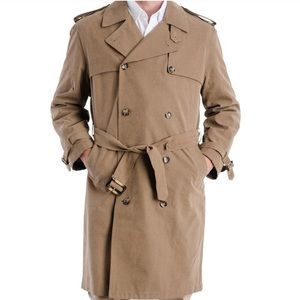 London Fog camel colored lined trench coat EUC